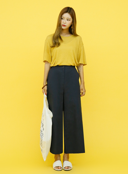 Wide Fit Linen Slacks | 럽미