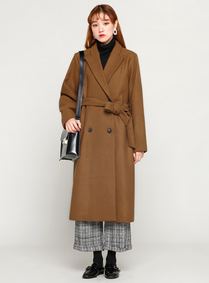 Belt Double Long Coat(울50%) | 럽미