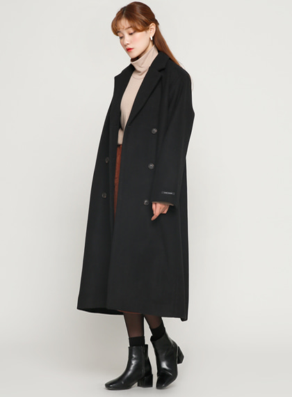 Simple Double Long Coat(울50%) | 럽미