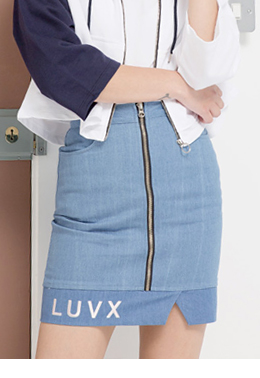 Vent denim skirt