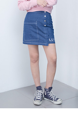 Side pocket denim skirt