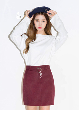 Heart belt stripe skirt
