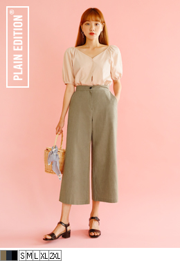 Wide Fit Linen Slacks