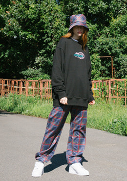 CHECK LETTERING PANTS_NAVY | 럽미