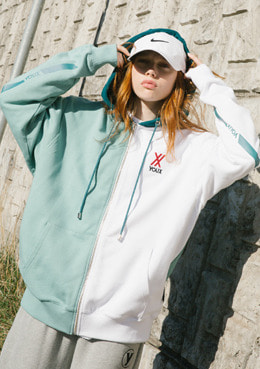 PARALLEL LOGO HOODIE ZIP-UP_MINT | 럽미
